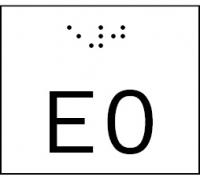 Taktile Handlaufbeschriftung, Layout: E + Stockwerk, mit Braille- und Pyramidenschrift, Aluminium, eloxiert