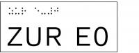 Taktile Handlaufbeschriftung, Layout: ZUR E + Stockwerk, mit Braille- und Pyramidenschrift, Aluminium, eloxiert