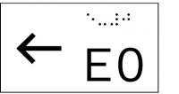 Taktile Handlaufbeschriftung, Layout: vorangestellter Pfeil nach links + E + Stockwerk, mit Braille- und Pyramidenschrift, Aluminium, eloxiert