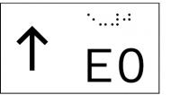 Taktile Handlaufbeschriftung, Layout: vorangestellter Pfeil nach oben + E + Stockwerk, mit Braille- und Pyramidenschrift, Aluminium, eloxiert