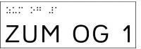 Taktile Handlaufbeschriftung, Layout: ZUM UG/OG, mit Braille- und Pyramidenschrift, Aluminium, eloxiert