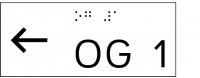 Taktile Handlaufbeschriftung, Layout: vorangestellter Pfeil nach links + UG/OG, mit Braille- und Pyramidenschrift, Aluminium, eloxiert