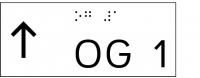 Taktile Handlaufbeschriftung, Layout: vorangestellter Pfeil nach oben + UG/OG, mit Braille- und Pyramidenschrift, Aluminium, eloxiert