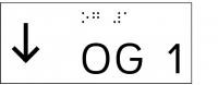 Taktile Handlaufbeschriftung, Layout: vorangestellter Pfeil nach unten + UG/OG, mit Braille- und Pyramidenschrift, Aluminium, eloxiert