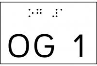 Taktile Handlaufbeschriftung, Layout: UG/OG, mit Braille- und Pyramidenschrift, Aluminium, eloxiert