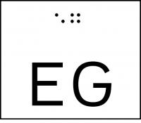 Taktile Handlaufbeschriftung, Layout: Stockwerk, mit Braille- und Pyramidenschrift, Aluminium, eloxiert
