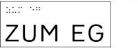 Taktile Handlaufbeschriftung, Layout: ZUM Stockwerk, mit Braille- und Pyramidenschrift, Aluminium, eloxiert
