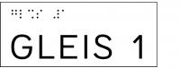 Taktile Handlaufbeschriftung, Layout: GLEIS + Gleisnummer, mit Braille- und Pyramidenschrift, Aluminium, eloxiert