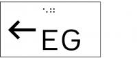 Taktile Handlaufbeschriftung, Layout: vorangestellter Pfeil nach links + Stockwerk, mit Braille- und Pyramidenschrift, Aluminium, eloxiert
