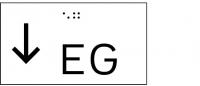 Taktile Handlaufbeschriftung, Layout: vorangestellter Pfeil nach unten + Stockwerk, mit Braille- und Pyramidenschrift, Aluminium, eloxiert