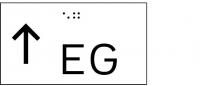 Taktile Handlaufbeschriftung, Layout: vorangestellter Pfeil nach oben + Stockwerk, mit Braille- und Pyramidenschrift, Aluminium, eloxiert