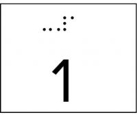 Taktile Handlaufbeschriftung, Layout: Zahlen, mit Braille- und Pyramidenschrift, Aluminium, eloxiert